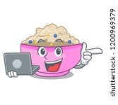 with laptop character a bowl of ... | Shutterstock .eps vector #1200969379