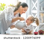 healthy food at home. happy... | Shutterstock . vector #1200976099