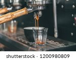 close up of espresso pouring... | Shutterstock . vector #1200980809