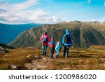 family with kids hiking travel... | Shutterstock . vector #1200986020
