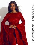 fancy stylish lady in the red... | Shutterstock . vector #1200994783