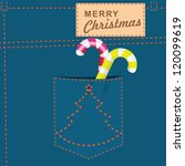 merry christmas on the jeans... | Shutterstock .eps vector #120099619