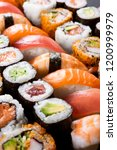 variety of sushi food. top view ... | Shutterstock . vector #1200999979