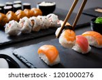 shrimp sushi nigiri on a black... | Shutterstock . vector #1201000276
