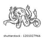 fantastic fabulous octopus... | Shutterstock .eps vector #1201027966