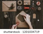christmas handmade cards and... | Shutterstock . vector #1201034719