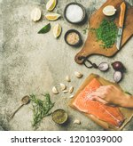 cooking salted salmon fish.... | Shutterstock . vector #1201039000