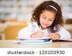 girl studying at school looking ... | Shutterstock . vector #120103930
