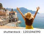 summer holiday in italy. back... | Shutterstock . vector #1201046590