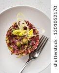 beef tartare with leek  capers... | Shutterstock . vector #1201052170