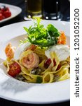 tagliatelle with shrimps ... | Shutterstock . vector #1201052200