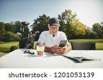 smiling senior man reading a... | Shutterstock . vector #1201053139