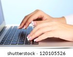 Hands Typing On Laptop Keyboard ...