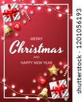 merry christmas background with ... | Shutterstock .eps vector #1201056193