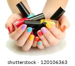 woman hands with nail polishes... | Shutterstock . vector #120106363