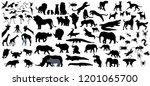 Stock vector big collection of animals birds and big of the world big fauna of the world icon set vector 1201065700