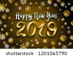 gold snow 2019 happy new year... | Shutterstock .eps vector #1201065790