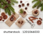 preparation christmas gifts on... | Shutterstock . vector #1201066033