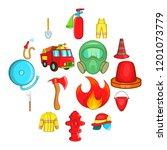fireman icons set in cartoon... | Shutterstock . vector #1201073779