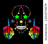 colorful skull icon with middle ... | Shutterstock .eps vector #1201074079