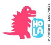 dinosaur. t rex. hand drawn... | Shutterstock .eps vector #1201078696