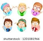 happy kids character icons set. ... | Shutterstock .eps vector #1201081966