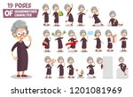 granny character animated set.... | Shutterstock .eps vector #1201081969