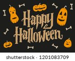 happy halloween lettering sign... | Shutterstock .eps vector #1201083709
