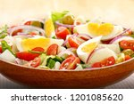 ensalada campera traditional... | Shutterstock . vector #1201085620