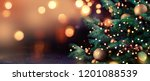 Stock photo decorated christmas tree on blurred background 1201088539