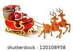santa claus with sledge  deers... | Shutterstock . vector #120108958