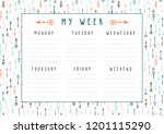 vector weekly planner in boho... | Shutterstock .eps vector #1201115290