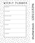vector weekly planner in cute... | Shutterstock .eps vector #1201115296