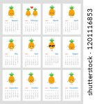 funny leafy calendar 2019 year...   Shutterstock .eps vector #1201116853