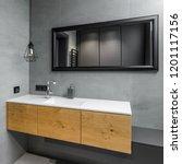 gray bathroom with countertop...   Shutterstock . vector #1201117156