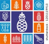 set of 13 food outline icons... | Shutterstock .eps vector #1201119913