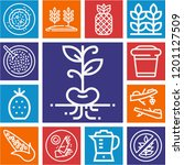 set of 13 food outline icons... | Shutterstock .eps vector #1201127509