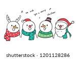 cartoon cute christmas snowman... | Shutterstock .eps vector #1201128286