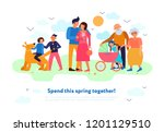 family spring flat composition  | Shutterstock .eps vector #1201129510
