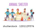 animal shelter design concept... | Shutterstock .eps vector #1201129576