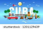 cuba travel background with... | Shutterstock .eps vector #1201129639