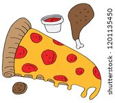an image of a pizza chicken... | Shutterstock .eps vector #1201135450