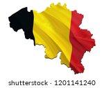 flag map of belgium. 3d... | Shutterstock . vector #1201141240