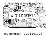 hand drawn set with ice skating ... | Shutterstock .eps vector #1201141723