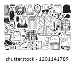hand drawn set with ice skating ...   Shutterstock .eps vector #1201141789