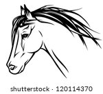Stock vector running horse head realistic vector illustration black and white outline 120114370