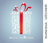 Christmas Card. Gift Box With...