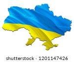 flag map of ukraine. 3d...   Shutterstock . vector #1201147426