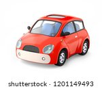 small cute red car isolated on...   Shutterstock . vector #1201149493