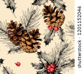 seamless pattern with holly... | Shutterstock .eps vector #1201152046